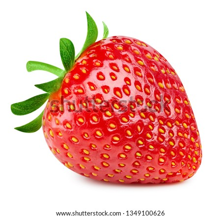 Strawberries isolated on white background. Ripe fresh strawberry Clipping Path. Professional studio macro shooting #1349100626