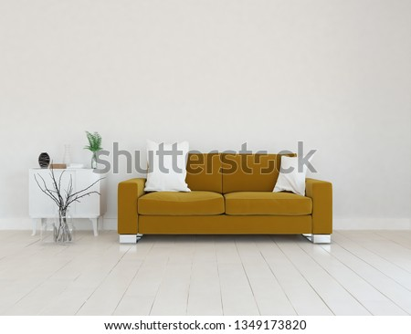 Idea of a white scandinavian living room interior with sofa, dresser, vases on the wooden floor and decor on the large wall and white landscape in window. Home nordic interior. 3D illustration #1349173820