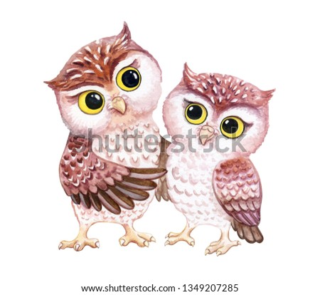 Owls. Owlet are hugging. Lovely chicks isolated on white background. Funny cartoon  birds. Watercolor. Illustration.  Template. Clip art.