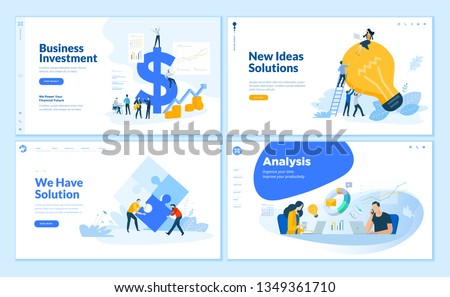 Web page design templates collection of business solution and analysis, startup, innovative ideas, investment. Flat design vector illustration concepts for website and mobile website development. Royalty-Free Stock Photo #1349361710