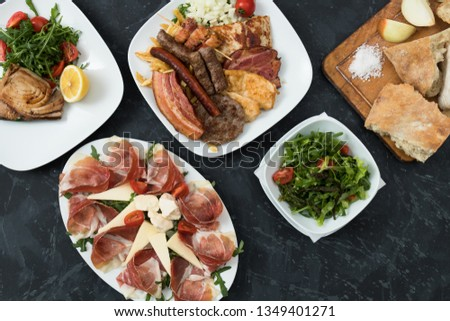 Mixed plates of food popular in Balkan region of Europe #1349401271