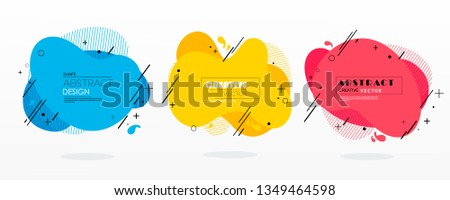 stock vector modern abstract vector banner set flat geometric liquid form with various colors modern vector #1349464598