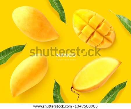 Creative layout made of mango. Flat lay. Food concept. Macro concept. Yellow background. #1349508905
