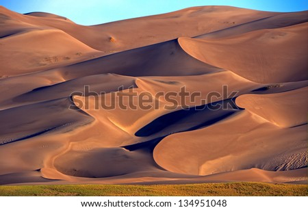 Sunrise at Great Sand Dunes National Park and Preserve located in San Luis Valley near Alamosa,Colorado. Royalty-Free Stock Photo #134951048
