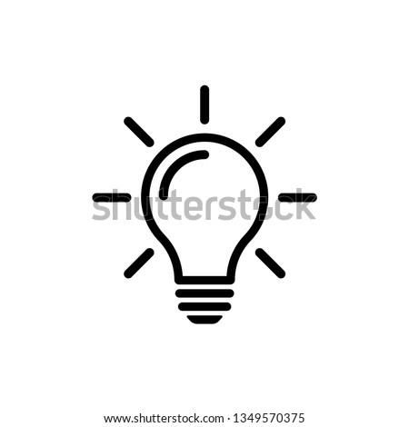 Bulb light vector icon. Lighting Electric lamp. Electricity, shine. Light Bulb icon vector, isolated on background. Bulb light icon - Idea sign, solution. Bulb light symbol Energy  Royalty-Free Stock Photo #1349570375