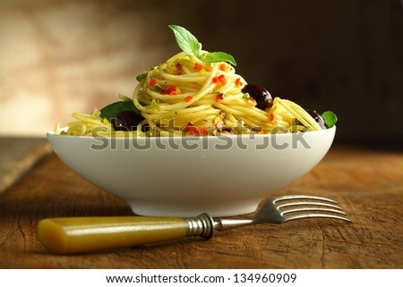 Close up shot of a white bowl filled with spaghetti pasta and olives and a fork.