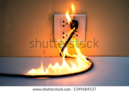 On fire electric wire plug Receptacle wall partition,Electric short circuit failure resulting in electricity wire burnt  #1349684537