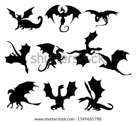 Ten stylized silhouettes of dragons in black and white.