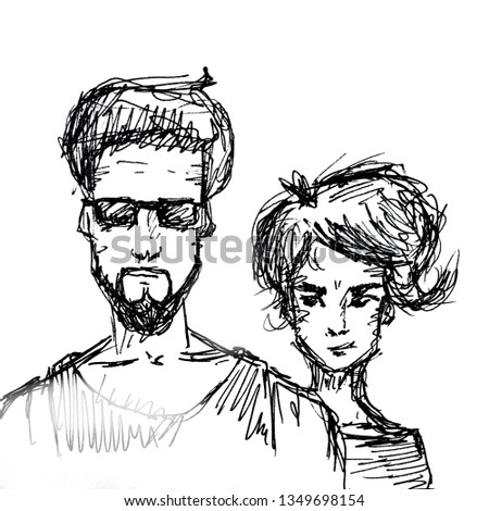 Hand drawn sketch portrait of young couple on white #1349698154