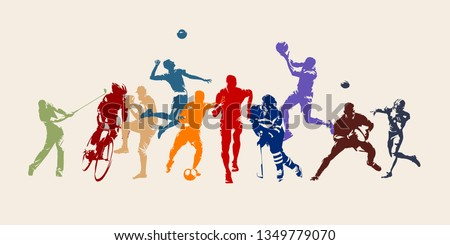 Sports, set of athletes of various sports disciplines. Isolated vector silhouettes. Run, soccer, hockey, volleyball, basketball, rugby, baseball, american football, cycling, golf Royalty-Free Stock Photo #1349779070