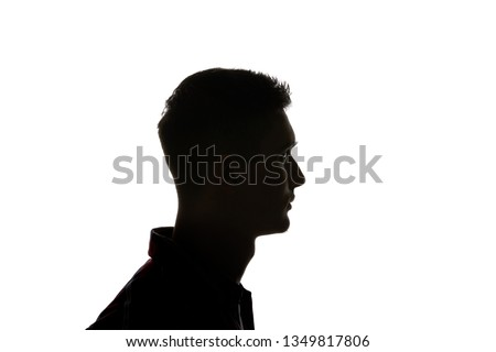 Silhouette of man looking away isolated on white #1349817806