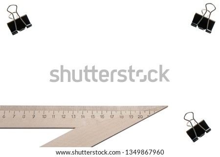 School supplies, stationery on white background - space for caption, top view #1349867960
