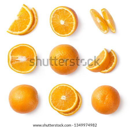 Orange slices, whole orange, half of orange isolated on white background. Top view. #1349974982
