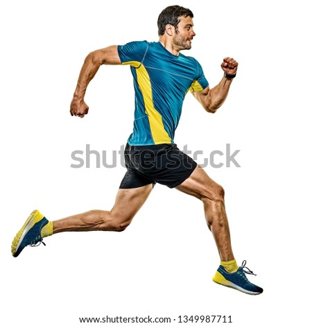 one caucasian handsome mature man running runner jogging jogger isolated on white background #1349987711