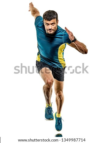 one caucasian handsome mature man running runner jogging jogger isolated on white background #1349987714