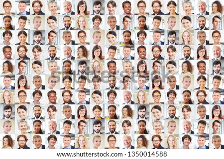 Many businessmen portraits together as teamwork and cooperation concept #1350014588