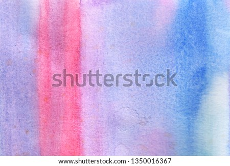 Hand drawn with brush watercolor illustration. Abstract background with pink, blue, purple,  paint stains for banner, template, desktop wallpapers. Texture with paint splash. #1350016367