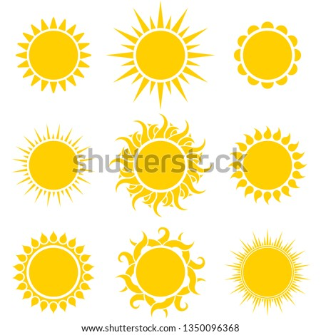 Abstract Yellow Sun Shapes Set Isolated on White Background. Vector Illustration.