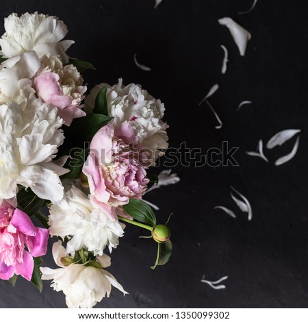 Peonies bouquet on black background #1350099302