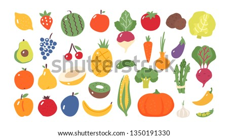 Fruits and vegetables. Flat style. Food isolated.  Royalty-Free Stock Photo #1350191330