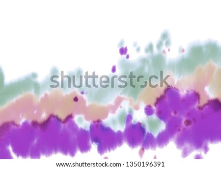 Abstract colourful background. Watercolor splash with purple, blue and  pink, green blops. #1350196391