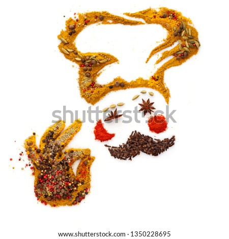 Creative diet food healthy eating concept photo of a funny cartoon chef made of different spices and seasoning mix showing an a-ok gesture, isolated on white.