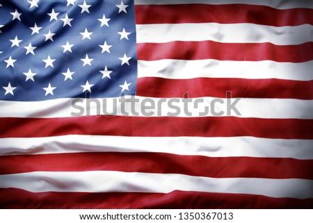 Closeup of rippled American flag #1350367013