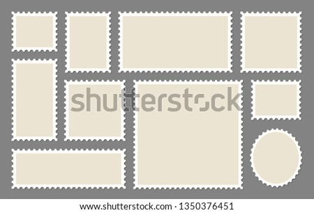 Blank Postage Stamps frames set - stock vector. Royalty-Free Stock Photo #1350376451