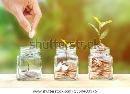 Money savings, investment, making money for future, financial wealth management concept. A man hand holding coin over stacked coins in glass jar and growing tree plant depicts Fund growth and wealth. #1350400376