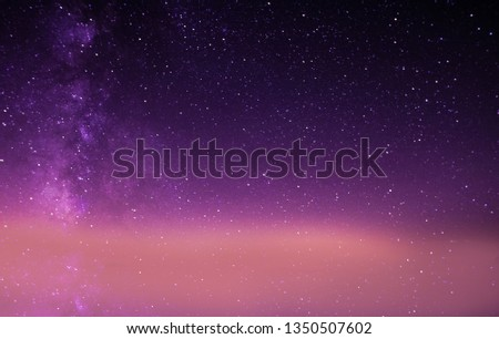 Beautiful galaxy pic of the sky shoot from Greenland, purple sky full of start with milky way on the left side.