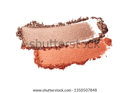 Eye shadow or bronzer neutral brown nude orange red smudge white isolated background #1350507848
