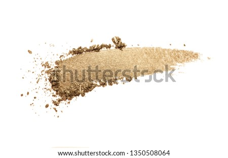Eye shadow or bronzer neutral brown nude orange silver smudge white isolated background #1350508064