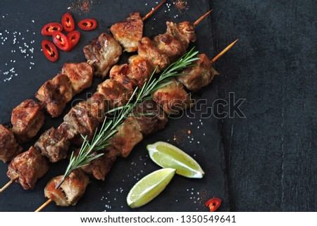 Delicious kebabs with rosemary, lime and chili. Keto diet. Paleo diet. Pegan diet. #1350549641