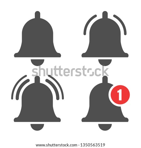 Message bell icon. Doorbell icons for apps like youtube, alert ringing or subscriber alarm symbol, channel messaging reminders bells #1350563519
