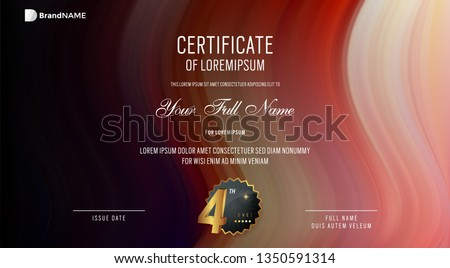 Modern vector design illustration of Abstract wavy geometric background for Certificate template #1350591314