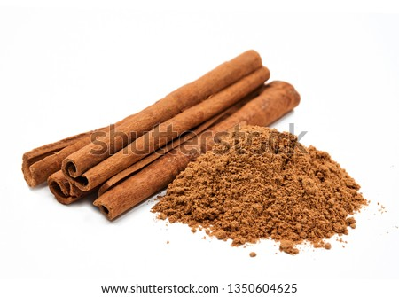 Cinnamon sticks and powder,   isolated on white background                         #1350604625