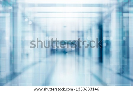 abstract defocused blurred technology space background, empty business corridor or shopping mall. Medical and hospital corridor defocused background with modern laboratory (clinic) #1350633146