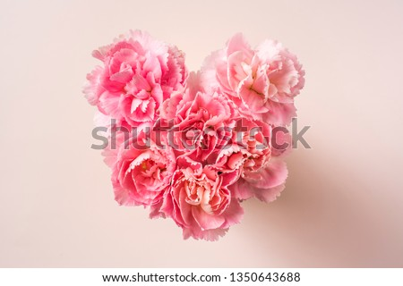 Design concept - top view of bunch of beautiful carnation with heart shape on pink background with copy space for mothers day, wedding and valentines day with copy space for mock up #1350643688