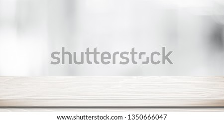 White table presentation, desk and blur background, Empty wood counter, shelf surface over blur restaurant white bokeh background, Wood table top for retail shop, store product display banner, mock up #1350666047