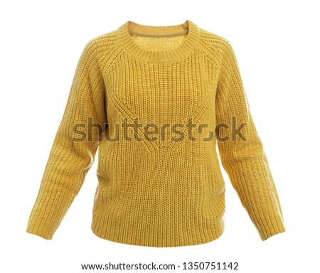 Stylish warm female sweater on white background #1350751142