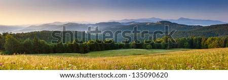 Majestic sunset in the mountains landscape.Carpathian, Ukraine. #135090620