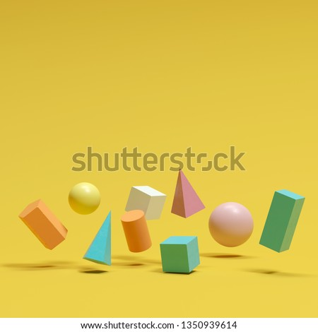 colorful geometric shapes set floating on yellow background. minimal concept idea #1350939614