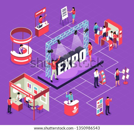 Isometric expo flowchart composition with isolated images of exhibit booths stands people and stage for performance vector illustration Royalty-Free Stock Photo #1350986543
