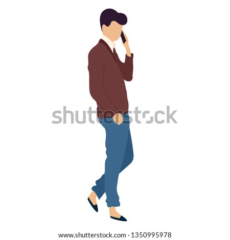 Young man with mobile phone. Isolated vector illustration #1350995978