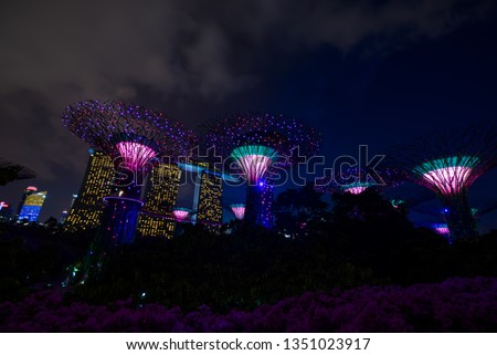 SINGAPORE CITY, SINGAPORE - FEBRUARY 03, 2019: Gardens by the bay in Singapore, Unique vertical gardens resembling towering trees, with large canopies & colorful lights at night #1351023917
