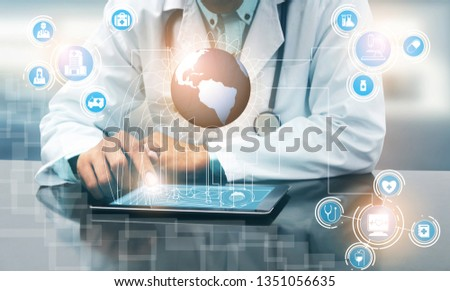 Health Insurance Concept - Doctor in hospital with health insurance related icon graphic interface showing healthcare people, money planning, risk management, medical treatment and coverage benefit. #1351056635