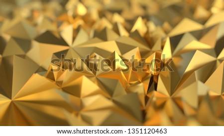 Golden Low poly triangle, trigon, triangular  background. abstract gold geometric crystals. Minimal quartz, stone, gems. 3d render  #1351120463