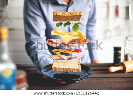 deconstructed sandwich layers in kitchen #1351126442