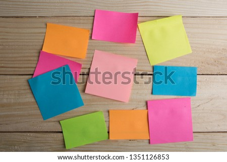 Wooden board with note stickers #1351126853