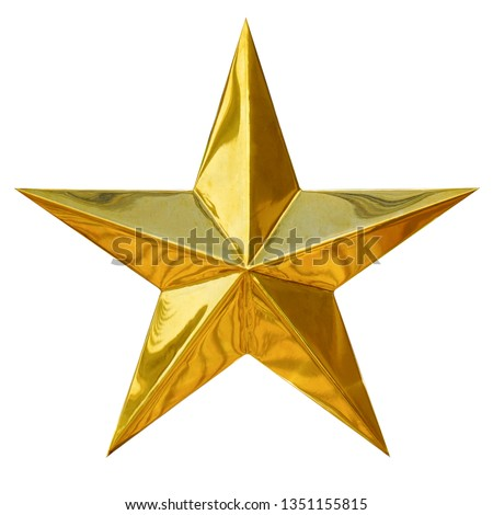 Golden Christmas Star isolated on white Background. Top View Close-Up Gold Star render (isolated on white and clipping path)                               #1351155815